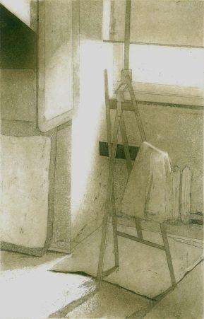 Pracownia, 2009-10, akwatinta, akwaforta, sucha igła, 30 x 19.4 cm