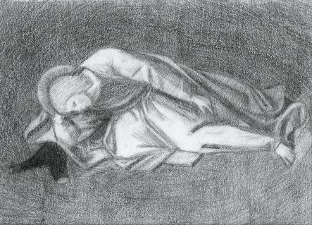 Śpiący Apostoł (Fra Angelico), ołówek, 2015