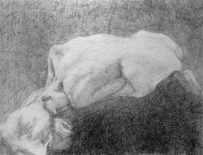 Danaida (A. Rodin), 2013, ołówek, 10 x 13 cm