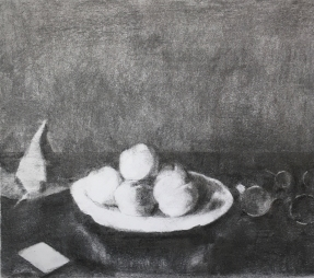 Still life with apricots after J.E. Liotarda, 2020, charcoal on paper, 26,5 x 30 cm